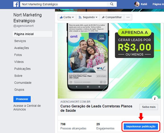 Screenshot com botão de Impulsionar publicação